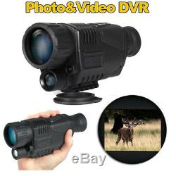 1.44 8GB Tactical IR Infrared Night Vision Monocular Scope 200m 5X40 Recorder