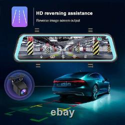 12 2K Rearview Dual Lens Mirror Dash Cam Backup Camera Recorder Touch Screen HD