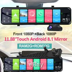 12'' 4G ADAS Car Mirror Recorder Android 8.1 1080P HD GPS Navi WiFi Dash Cam DVR