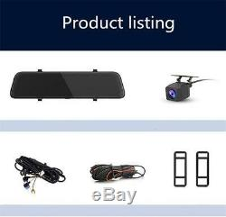 12'' Android 8.1 Car Dash DVR Rearview Mirror Recorder Night Vision Camera Kit