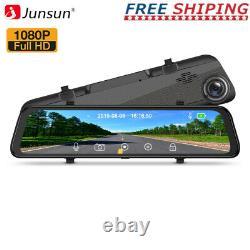 12'' LCD Full HD 2-Lens Video Recorder Rearview Mirror Car Dash Cam Camera DVR