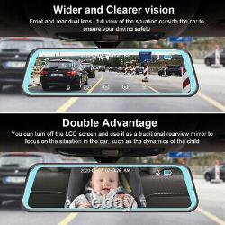 12 Mirror Dash Cam Backup Camera Recorder Touch Screen HD 2K Rearview Dual Lens