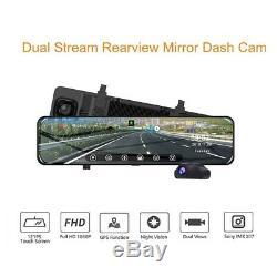12 Stream ADAS GPS Dual Lens Car Rearview Mirror Dash Cam Recorder Night Vision