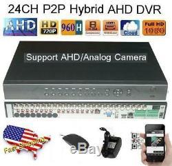 24Ch AHD Hybrid CCTV DVR 720P NVR Video Recorder for IP/AHD/Analog Camera