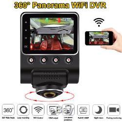 360° Panoramic WiFi Car DVR Fisheye Camera Full View HD 1080P Recorder dash Cam