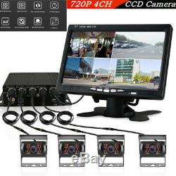 4CH 720P Car SUV DVR Real Time Video Recorder+7HD Monitor+4Camera Night Vision