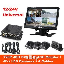4CH 720P DVR IR Security Camera System Night Vision Camera 7'' Monitor Recorder