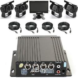4CH Car Bus Mobile DVR Security Video Recorder +4 IR Camera Cable +7 Screen Set