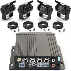 4CH Car Mobile DVR Recorder+4 IR Night Vision Outdoor Waterproof CCTV Camera Set