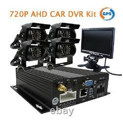 4CH GPS 720P HD AHD Car DVR Video Recorder Kit + Car Rear View Camera 7 Monitor