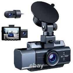 4K 3CH Car DVR Front Rear Inside Camera Video Dash Cam Recorder IR Night Vision