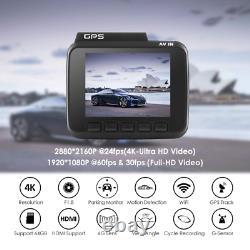 4K Dash Cam Built in GPS WiFi Recorder Dash Cam Dual Lens Night Vision Dashcam