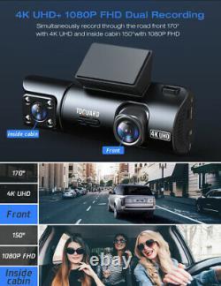4K Dual Dash Cam 1080P Inside Cabin GPS Car DVR Recorder Camera Sony NightVision