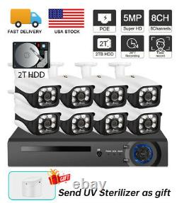 5MP 1920P PoE Security Camera System 8CH NVR Video Surveillance Face Record