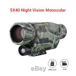 5x40 Night Vision Monocular 8GB DVR With Video Recorder for Hunting Surveillance