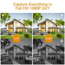 8CH 1080P NVR Recorder Outdoor Security Camera Home Surveillance System 1TB HDD