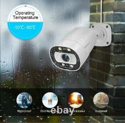 8CH 5MP Outdoor Home Flood Light Two Way Audio POE Security Camera System Lot