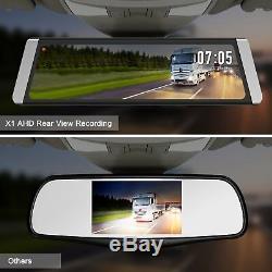 9.88'' Touch Dual Lens Car DVR Rear View Mirror Dash Cam Camera Video Recorder