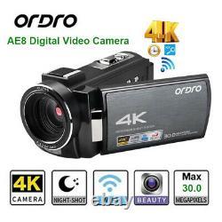 AE8 4K Digitale Videokamera Touch Bildschirm Camcorder IR Night Vision Recorder
