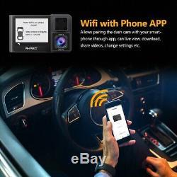 AKASO Dual Lens Car Dash Camera GPS 1080p Night Vision Rear Video Cam Recorder