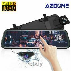 AZDOME 10 FHD 1080P Dual Lens Car Dashcam Rearview Mirror Recorder Night Vision