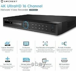Amcrest 4K NV4216-AI 4K 16 CH Network Video Recorder Smart NVR IP Camera No HDD