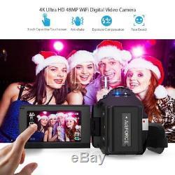 Andoer WiFi 4K 1080P Digital Video Camera Camcorder Cam Recorder + Microphone
