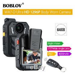 BOBLOV WA7-D Ultra HD 1296P 64GB 2.0 Body Worn Camera Recorder Night Vision Hot