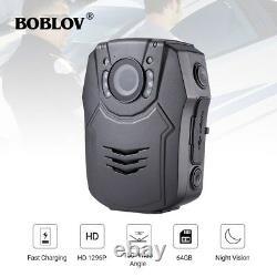 Boblov Police Body Worn Camera HD 1296P 64GB Camcorder DVR Recorder Mini Pocket