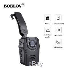 Boblov Police Body Worn Camera HD 1296P 64GB Recorder DVR Mini 150° Audio Guard