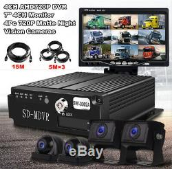 Car DVR Video Recorder Box with 4 CCD 720P Night Vision Camera For Truck Van Bus