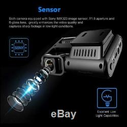 Car Dash Cam DVR WiFi GPS Logger Dual Lens Chip Sensor Night Vision Recorder