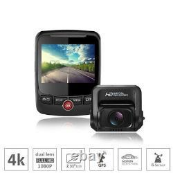 Car dash camera video recorder gps 4K Ultra 2160P dual lens front rear FHD 1080P