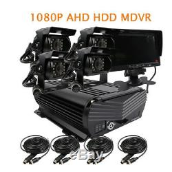 DIY 4CH 1080P 2.0MP 2TB HDD Hard Disk Car DVR MDVR Video Record 7monitor Camera