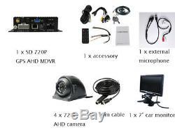 DIY 4CH GPS 720P AHD 256GB SD Car DVR MDVR Video Recorder 1.0MP IR Camera 7 LCD