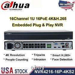 DaHua NVR4216-16P-4KS2 4K 8MP NVR 1U 16PoE 4K&H. 265 Lite Network Video Recorder