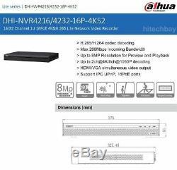 Dahua NVR4216-16P-4KS2 4K 8MP 2SATA 16CH 16PoE Port H. 265 Network Video Recorder