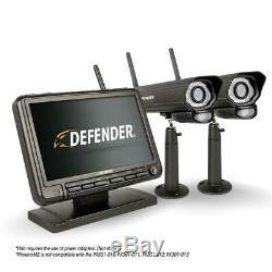 Defender Security System 2 Night Vision Cameras Monitor DVR SD Card Recording