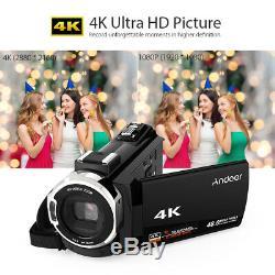 Digital Video Camera Recorder Camcorder DV WiFi 4K ULTRA HD 48MP 1080P+ Lens Mic