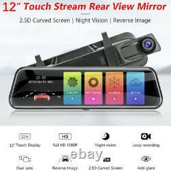 Dual Lens Car DVR Dash Cam Video Camera Recorder Rearview Mirror Touch Screen
