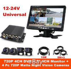 HD 4CH Car Truck Van DVR Video Recorder with 7 Monitor 4x CCD Night Vision Camera