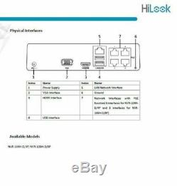 HiLook by Hikvision NVR-104H-4P 4 Ch 4MP IP Network PoE NVR CCTV Recorder