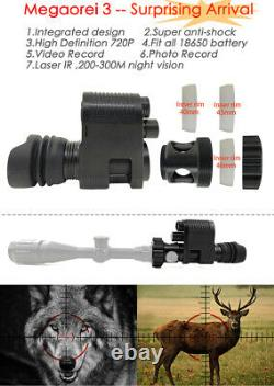 Megaorei3 300m 720P 850nm Infrared Night Vision Video Recorder Scope for Hiking