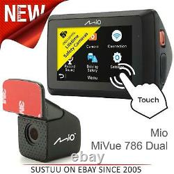 Mio Mivue 786 Dual Touch Wi-Fi Car GPS Dash CameraA20 Rear Cam1080p Recording