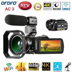 ORDRO AC3 4K WiFi Digital Video Camera Camcorder 24MP 30X Zoom IR DV Recorder CH
