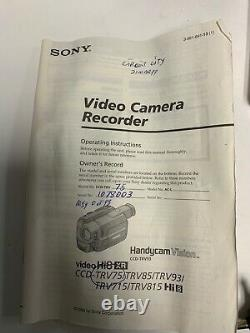 Sony Hi8 Video Camera Recorder & Charger Book Bag 2 Batteries Ccd-trv75 & Case