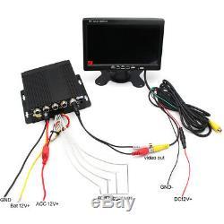 Truck DVR Video Recorder Kit 7 Car Monitor Display 4 Night Vision Backup Camera