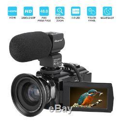 Ultra 4K HD 1080P WiFi 48MP Digital Video Camera Camcorder Recorder DV+Mic+Lens