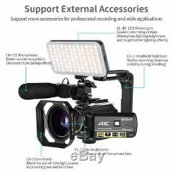 Video Recorder 4k Vlog Camera IR Night Vision ORDRO HD 1080P 60FPS With Mic