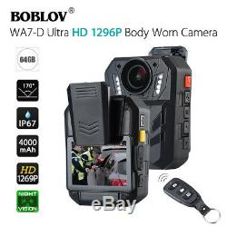 WA7-D HD 1296P 64GB 2.0 Body Worn Camera Recorder For Law Enforcement Pro